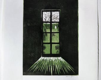 Who is that in the garden? Lino and drypoint print