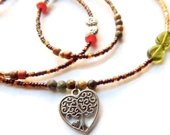 Tree of Life Waist Beads, Agate Waist Beads, African Waist Beads, Brown-Gold Belly Chain, Agate Waist Chain