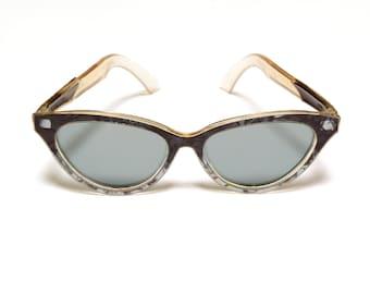 vintage 50s 60s sunglasses Foster Grant USA blue brown pearl shell atomic sunglasses cat eye gray lens 1950 1960 eyewear rockabilly