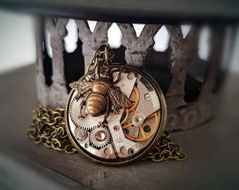 Brass Bumble Bee - Vintage watch Steampunk Pendant - Time Flies