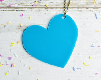 Teal Turquoise Heart Necklace | Large Statement Necklace | Extra Long Necklace | Laser Cut Jewellery | Nickel Free