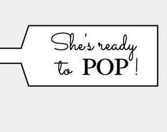 "Custom ""She's Ready to POP!"" kraft labels/seals - Bar bells - Jewelry tag - Lollipop tag - Any message you want"