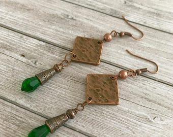 Green copper long copper chandelier Earrings  - Tribal Gypsy earrings - Bohemian boho Earrings - green dangles earrings - Unique Gift