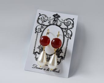 Carnelian and Pearl Earrings, Carnelian Dangle Earrings, Carnelian Jewelry, Historical Jewelry, 19th Century, Victorian Earring, Jane Austen