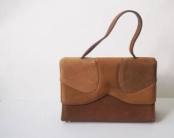 Vintage Handbags|Vintage 1960s Brown Suede Handbag / 60s Pill Box Purse|Vintage Structured Handbags|Bridal Rustic Wedding Bag|Winter Bag