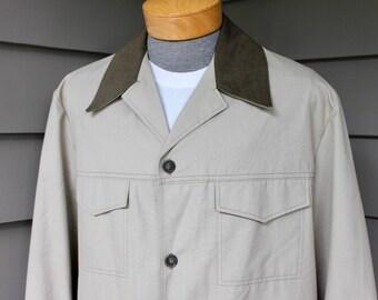 vintage 70's - 80's -Woolrich- Men's 4 pocket Safari jacket / bush coat. 'New Old Stock'. Light duck with canvas collar. Geek wear. Large