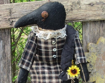 CROW DOLL OOAK~ Made To Order~ Primitive Folk Art~ ~ Rustic~ Farmhouse~  Black Crow~ Primtive Art Doll~ Wall Hanger~ Shelf Sitter~
