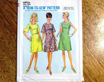 "RETRO 1960s Princess Seamed Dress / A-Line Dress Pattern - Half Size 16.5 (Bust 37"") - UNCUT ff Vintage Sewing Pattern Simplicity 6937"