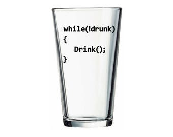Software Engineer Beer, While Not Drunk - Drink Glass, Coding Humor Glass, Computer Science Gift, Programmer Gift, Computer Programmer Glass