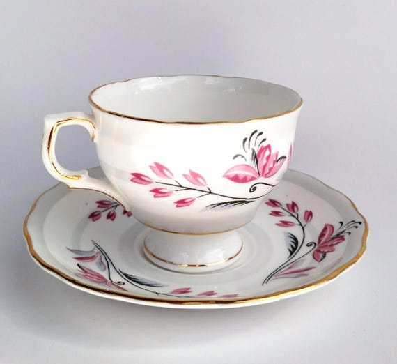 Vintage Colclough Bone China Tea Cup and Saucer Set in White with Pink, Black and Gray Floral Design