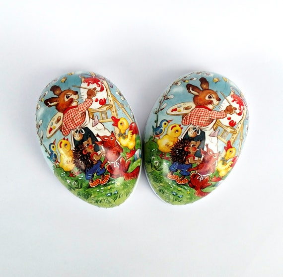 Vintage Easter Egg Box with Painting Bunny Art Teacher and Happy Animal Students