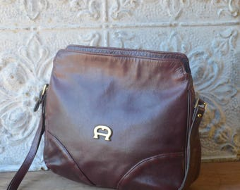 Oxblood Leather Cross Body Handbag By Etienne Aigner, Preppy Oxblood Leather Purse