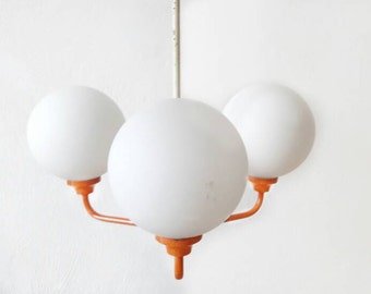 Mid Century Pendand Lamp Metal and Milk Glass Balls