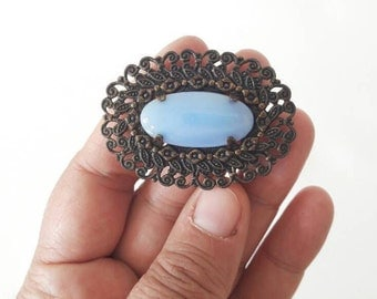 Vintage Metal Brooch with Pastel Blue Stone