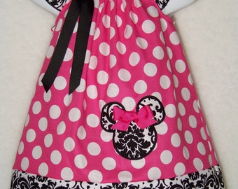 Minnie Mouse Dress / Pink & White Dots + Demask / Disney Vacation / Birthday / Newborn / Infant / Baby / Girl / Toddler / Boutique Clothing