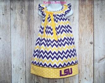 LSU Chevron Dress / Purple & Gold / Tigers / LSU Kids / LSU Baby / Newborn / Baby / Infant / Girl / Toddler / Custom Boutique Clothing