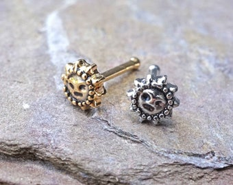 Sun Silver or Gold Nose Ring Gold Nose Stud