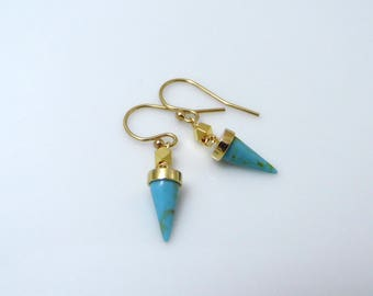 Turquoise spike earrings, gold turquoise earrings, turquoise dangle earrings, turquoise drop earrings