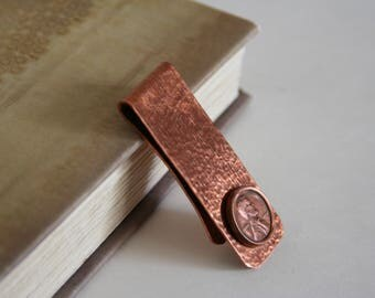 Abraham Lincoln Money Clip US Penny Coin Currency Copper - made from a button that looks like a penny