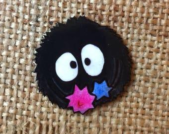 Soot sprite handmade pin badge