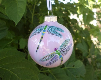 Pink Dragonfly Ornament, Hand painted Christmas ornament 366