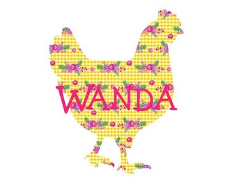 Chicken Decal, Personalized Chicken Decal, Name Decal, Car Decal, Yeti Decal, Vinyl Decal, Chicken Sticker, Farm Decal, Farm Animal Decal