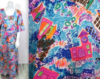 Child's Play-Amazing Vintage Colorful 70s Psychedelic Caftan Dress