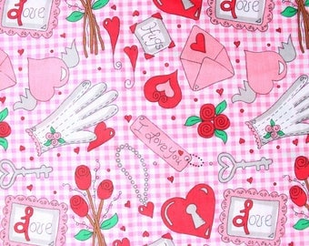 1990's Valentine's Day Cute Fabric in Pink and Red Hearts . Kitschy Cute Fun . One Yard Scrap Fabric 00s 2000s 90s  SWAK