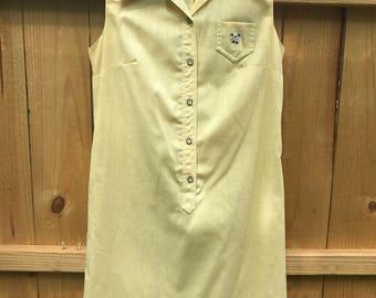Vintage 60s Yellow Sleeveless Mod Dress / The Art Shirt Mod Yellow Dress / Sleeveless Mod Twiggy Shift Dress