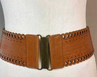 "Vintage Brown Stretch Belt with Leather Front and Brass Buckle, Brown Cinch Belt Ladies Medium 3"" Wide 29.75"" Long Stretches to 39"""