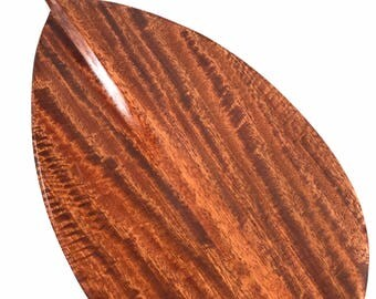 "Premium Tiger Curls Koa Paddle 60"" Straight Shaft - Steersman Design Made In Hawaii - Commemorative Gift 