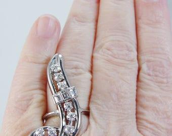 Vintage 14K White Gold 1.70cts Diamond VVS1 FG Diamonds Ring One of a Kind