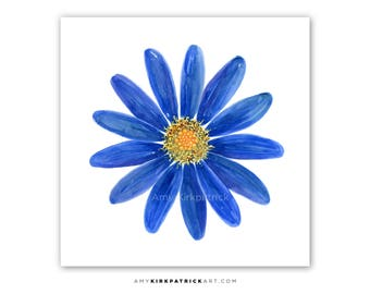 Blue Daisy Painting, Daisy PRINTS, Daisy Greeting CARDS, ORIGINAL Flower Watercolor Painting, Daisy Wall Decor, Daisy Wall Art, Marguarite