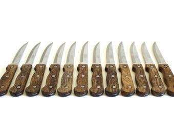 Regent Sheffield Steak Knives Wood Handle, Set of 12, Serrated, RS Made in Japan Shield Lions