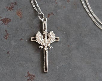 Eagle Cross Necklace - Antique Sterling Silver Crucifix Pendant of Chain