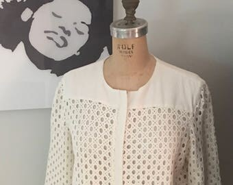 Crochet Creme Bolero Jacket