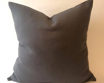 Decorative Throw Pillow Cover -Gray Linen Medium weight European Linen -Invisible Zipper Closure- Cushion Cover