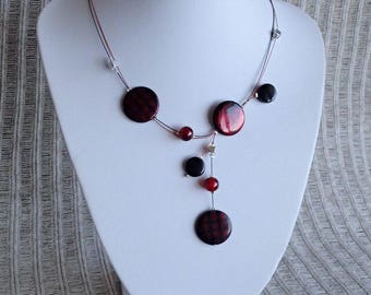 Black and Red Necklace, Illusion Necklace , Mother Of Pearl Shell Necklace, Gift For Her, Round Shell Necklace