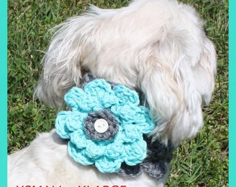 Crocheted Dog Cowl With Flower Dog Scarf Dog Bandanna Crocheted Dog Collar Dog Clothing Accessories for Dogs Sizes XS-XL Pick Your Colors