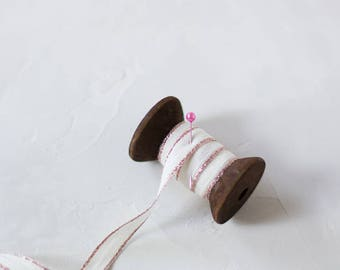 """Rose Gold Metallic Edge Drittofilo Cotton Ribbon (with Wooden Spool) - 5 yards - 3/8"""" wide"""