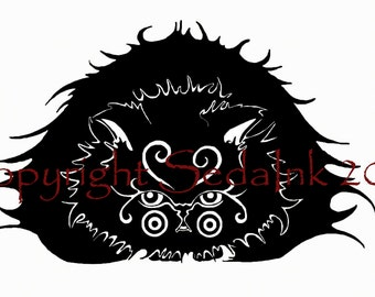 Black Cat Print, Cat Print, Persian Cat Artwork, Cat Artwork,Print,Home Decor, Pet Portrait,Animal Illustration, Black Cat Drawing