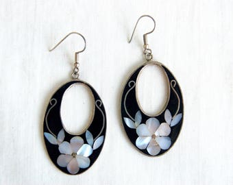 Mexican Earrings Alpaca Dangles Vintage Black and White Flower Boho Dangles from Mexico Under 20