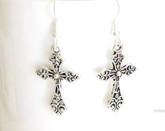 Cross Earrings, Silver Cross Earrings, Pewter Cross Earrings, Cute Cross Earrings, Woman's Cross Earrings, Girls Cross Earrings
