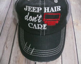 Jeep Hair Don't Care Black Embroidered Distressed Trucker Cap