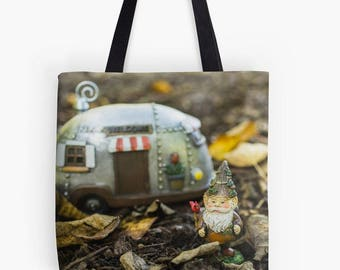 Gnome Canvas Tote Bag, Beach Tote, Garden Gnome Tote, Book Bag, Farmers Market Bag, Reusable Grocery Bag, Photo Tote Bag