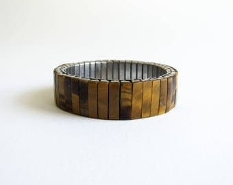 Vintage Tigers Eye Expansion Watch Banh Stretch Bracelet