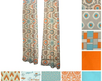 Modern Curtains- Pair of Drapery Panels- Mandarin Orange Drapes- Aqua Curtains- Kitchen Cafe Curtains- Window Coverings- Orange Shade