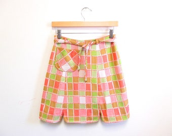 Vintage 1960s Mini Skirt   Pink and Lime Green 1960s 70s MIni Skirt   size small