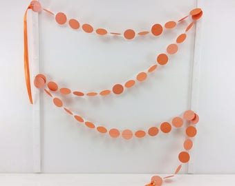 Shimmer Orange Dots Garland 6ft: Halloween Garland, Halloween Mantel, Classroom Decor, Polka Dot Garland, Photo Backdrop, Orange Bunting