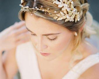 Wedding Head Piece, Bridal Hair piece, Gold wedding crown, gold leaves headpiece, Leaves Crown, wedding headband, gold wedding hair piece